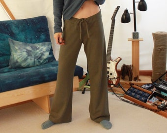 hemp pants - drawstring waist strait leg pajama yoga tai chi qi gong pants - 100% hemp and organic cotton - custom made hand dyed - xxs - l