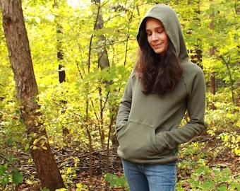 raglan sleeve hoody with drawstring hem - womens mens pullover hoodie - 100% hemp and organic cotton - custom made hand dyed sizes xxs to xl