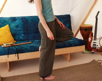 hemp pocket pants with drawstring waist and legs yoga tai chi qi gong - 100% hemp and organic cotton - custom made hand dyed sizes xxs to xl