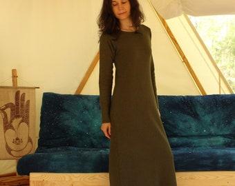 warm cozy winter fleece long sleeve nightgown / dress / pajamas - 100% hemp and organic cotton - custom made and hand dyed - sizes xxs to xl