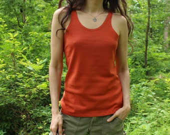 hemp tank top / singlet / undershirt / summer strap shirt - 100% hemp and organic cotton hand dyed in pumpkin orange - size small
