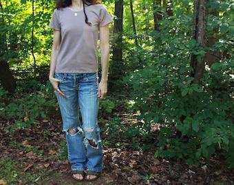 ladies short sleeve hemp shirt t-shirt babydoll top - 100% hemp and organic cotton - custom made and hand dyed - womens hemp clothing