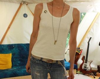 hemp tank top - casual / loose fit - organic singlet undershirt - 100% hemp and organic cotton - custom made to order - hand dyed