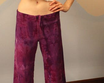 purple pi pants - drawstring sweatpants in 100% hemp and organic cotton - one of a kind hand dyed in purple - extra small