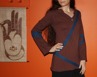 time traveller no. 2 long sleeve v neck shirt - hemp and organic cotton hand dyed brown blue - one of a kind futuristic sci-fi clothing - s