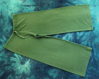 hemp pajama pants / yoga / drawstring lounge pants - 100% hemp and organic cotton - hand dyed in forest green - small