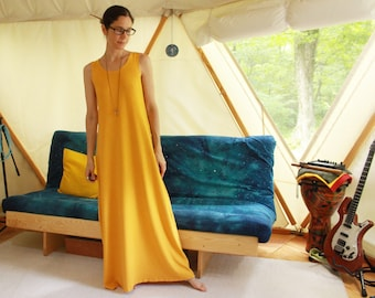 hathor / moon goddess dress - flowing full length sleeveless dress or night gown - 100% hemp and organic cotton -  custom made and hand dyed