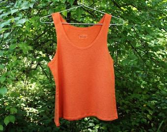 hemp tank top / singlet / undershirt / summer strap shirt casual fit - 100% hemp and organic cotton hand dyed in pumpkin orange - size small