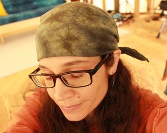 100% hemp / cannabis camo style bandana - hand dyed in green and black - rebel head wrap scarf kerchief face mask do rag organic uv shield