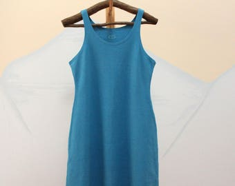 tank / mini dress - 100% hemp and organic cotton - hand dyed in cerulean - small to medium