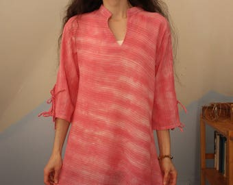 pink sparkles - one of a kind hand dyed indian cotton shirt with tie sleeves - small