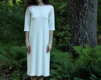 organic hemp clothing - 3/4 sleeve nightgown / dress / organic pajamas - 100% hemp and organic cotton - custom made hand dyed
