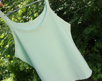 hemp stretch camisole yoga exercise summer tank top / base layer - hemp and organic cotton hand dyed in seafoam / light green - small size 6