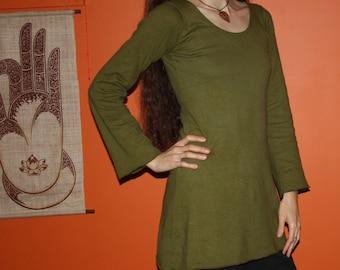 organic hemp clothing - long sleeve scoop neck dress - 100% hemp and organic cotton - custom made to order - hand dyed