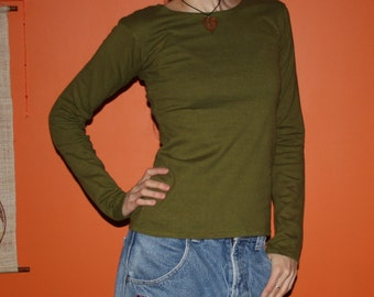 organic tight fit long sleeve shirt - 100% hemp and organic cotton - custom made to order - hand dyed