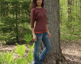 organic clothing - 3/4 dolman sleeve batwing shirt - 100% hemp and organic cotton - custom made to order - hand dyed