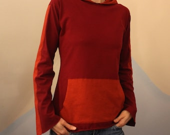 monk hood - one of a kind hand dyed upcycled long sleeve shirt - 100% cotton - extra  small / small