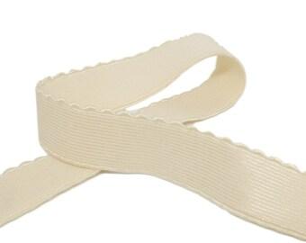 Bra//Lingerie Elastic Plush Back Scallop Edge 19mm3//4 Inch Wide White