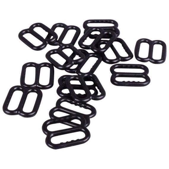 Porcelynne Black Plastic Bra//Headband Replacement Strap Slides with Gripping Teeth 100 Pairs 1//2 or 13mm Opening