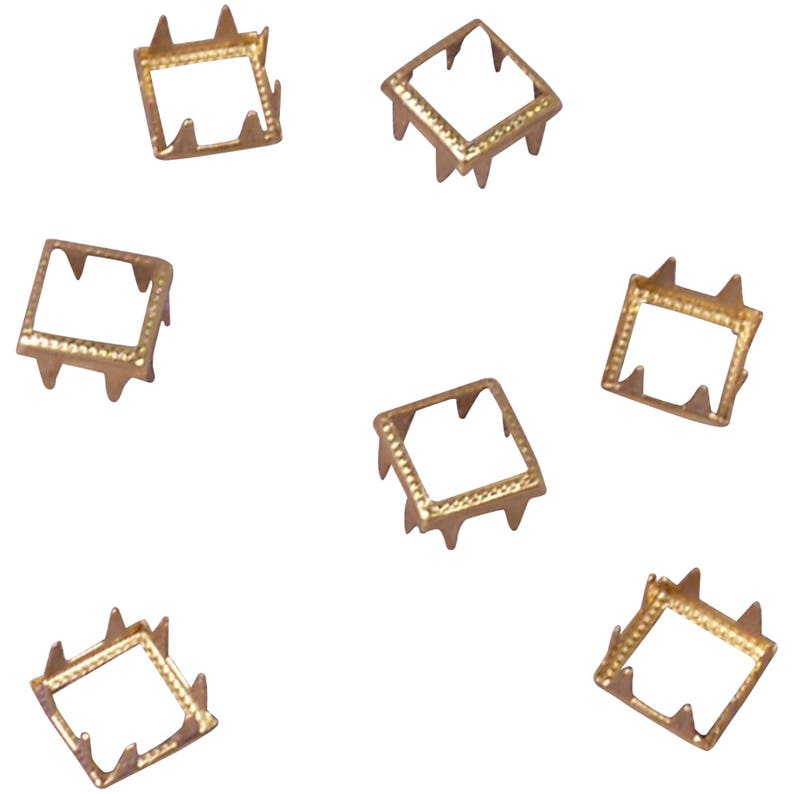 9mm Vintage Gold Square Metal Open Studs MOS13GOS