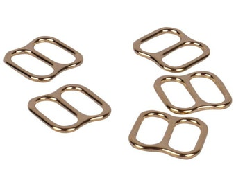 Gold Metal Alloy Strap Sliders with Wide Opening - 3/8 inch or 10mm (M810GOW)
