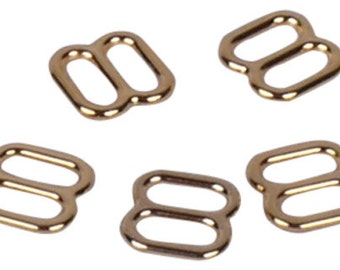 Gold Metal Alloy Strap Sliders - 1/4 inch or 7mm (M87GO)