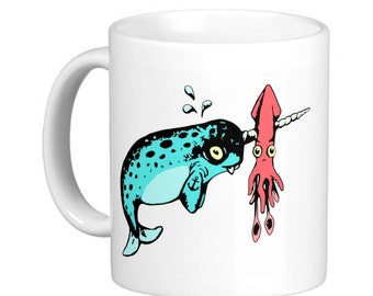 Gnarwhal & Squid Coffee Cup