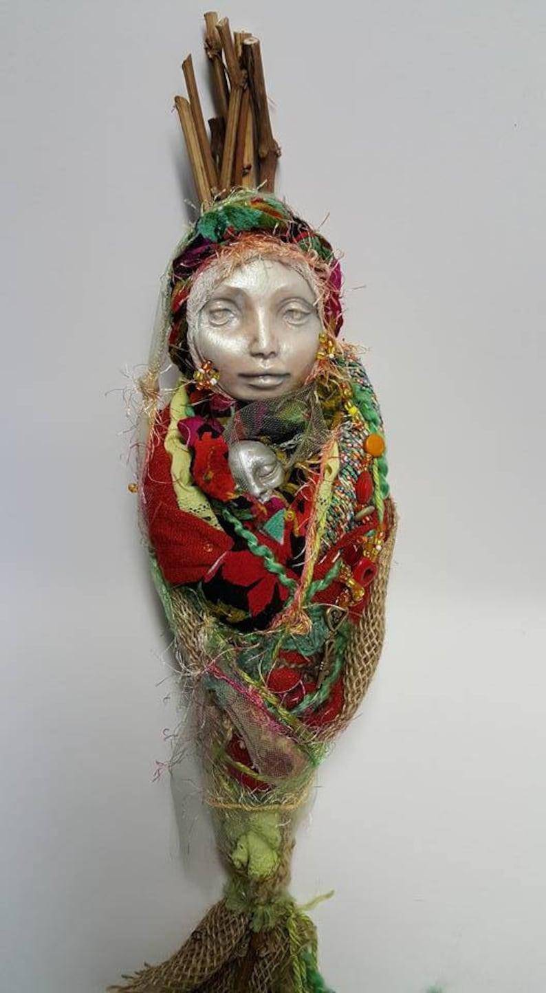 Clay And Lace Decor Spirit Figure Handcrafter Doll Fabric Sculpture Brigid Textile Art Doll Ancient Goddess Art