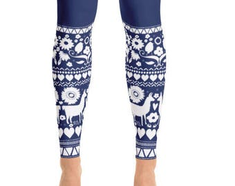 Folk Llama Indigo Blue Pattern HandDrawn Classic Design Hearts Decorator Decor Designer Patterned Border Yoga Leggings