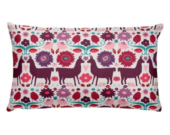 Folk Llama Rectangular Pillow Floral Fair isle Brightfolk Classic Onelittleprintshop Classic Design Decor Nordic Scandinavian
