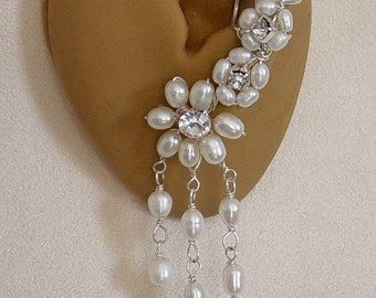 Pearl Bridal Ear Cuff Single