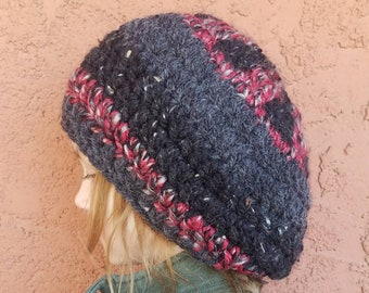 189f144911c0c Winter Hat for Men or Women. Tam Hat. Hippie Tam. Punk Rock. Slouchy Hat.  Slouchy Beret.