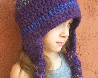 Winter Hat in Purple Earflap Hat with Braids Trapper Hat Aviator Hat Bomber  Hat Sherpa Hat Women s Hat ac520b14108a