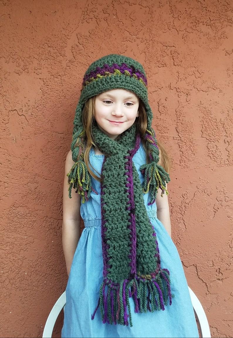 a7a0120982a2f Kids Hat & Scarf Set. Girl's Ear flap Hat. Girl's Sherpa Hat. Girl's Scarf.  Trapper Hat for Kids. Aviator Hat. Bomber Hat. Green Hat.