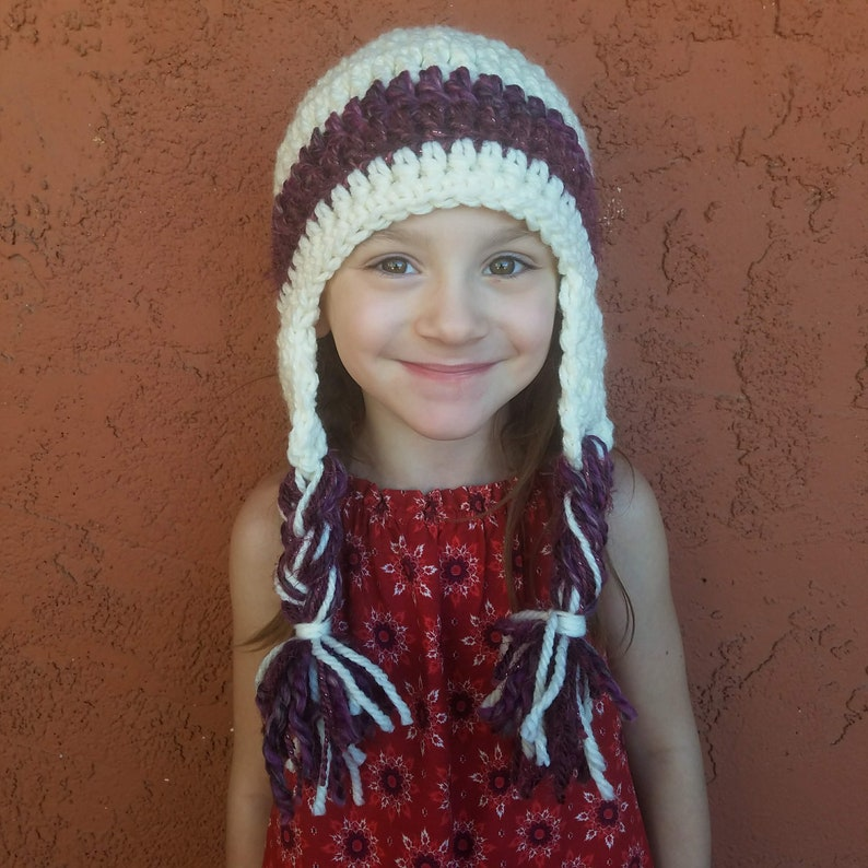 81791f58940 Girl s Winter hat with Earflaps and Braided Fringe. Sherpa