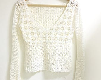 sale*Crochet knitted v-neck top sweater white s