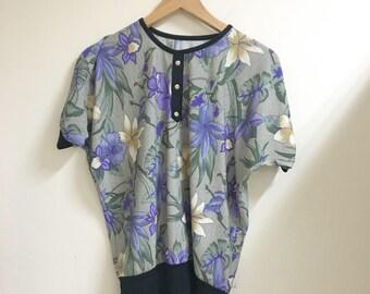 Floral drop shoulder short sleeves blouse