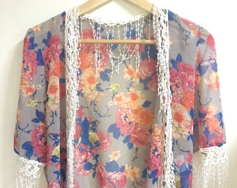 Floral sheer open front blouse s