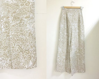 High-waisted culotte floral print pants white ivory s/m