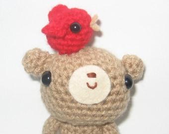 Little Teddy and Bird amigurumi crochet pattern - PDF Digital Download