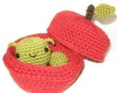 Little Worm and her Apple Home - crochet pattern