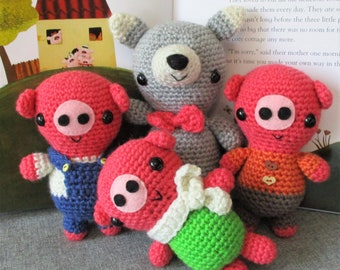 NEW** The Three Little Pigs and the wolf crochet pattern PDF Digital Download