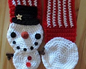 Snowman Scarf crochet pattern - PDF Digital Download