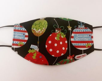 Adults Large Fitted Face Mask in a black Christmas bauble Print cotton fabric