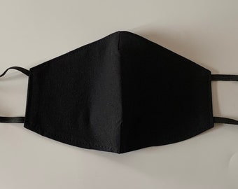 Reusable cotton Adults Face Mask in solid black