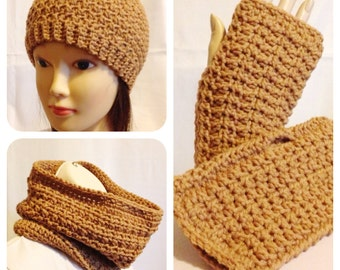 Honeycomb Beanie, Cowl and Fingerless Mitten Set in Dark Tan - Medium to Large Adult