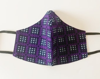 Reversible and Reusable cotton Adults Face Mask in a Purple and black African Ankara wax print