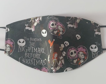 Adults Large Fitted Face Mask in a black Nightmare Before Christmas Print cotton fabric