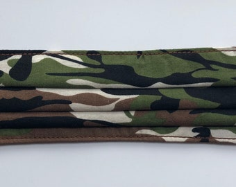 Adults Pleated Face Mask in Green, black, brown and cream Camouflage Print cotton fabric