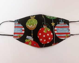 Adults Large Fitted Face Mask in a black Christmas bauble Print cotton fabric with a nose wire